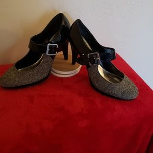 Tweed & patent leather Mary Jane heels 8.5